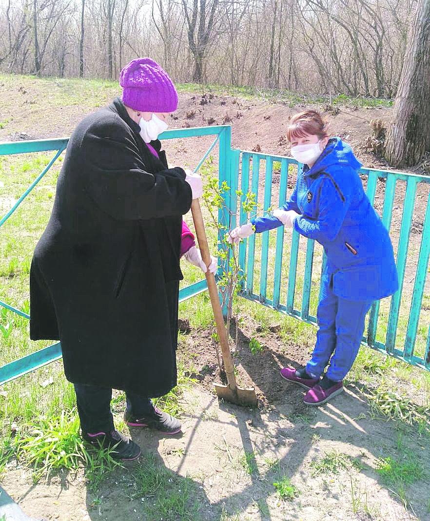 Работники Гусынского сельского клуба приняли участие в Дне древонасаждений