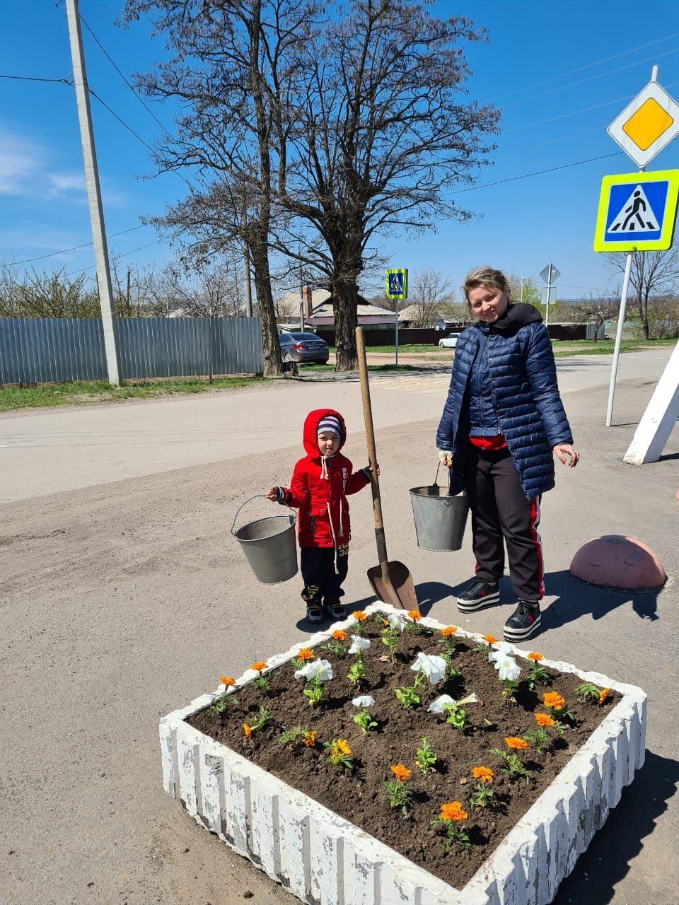 Цветы на площади в Коксовом